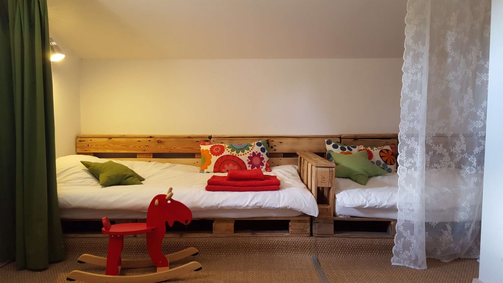 Beds in attic, family duplex